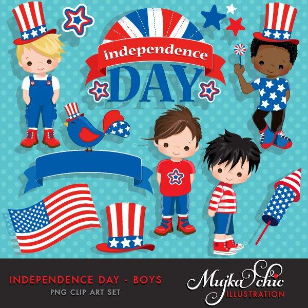 4th of July, Independence Day Boys Clipart