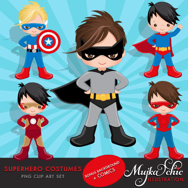 Superhero clipart, super boy costume