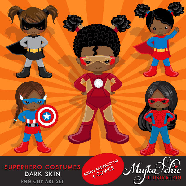 Superhero Clipart. Super girl Costumes