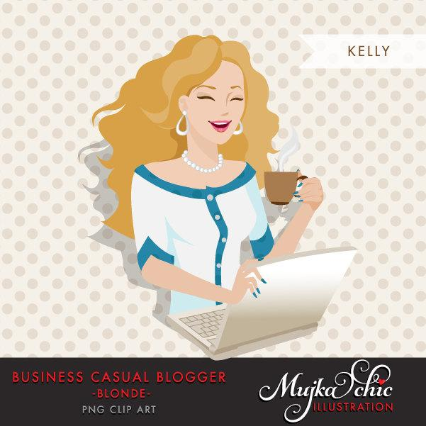 Blonde Blogger Character in Business Causal outfit. Avatar Clipart