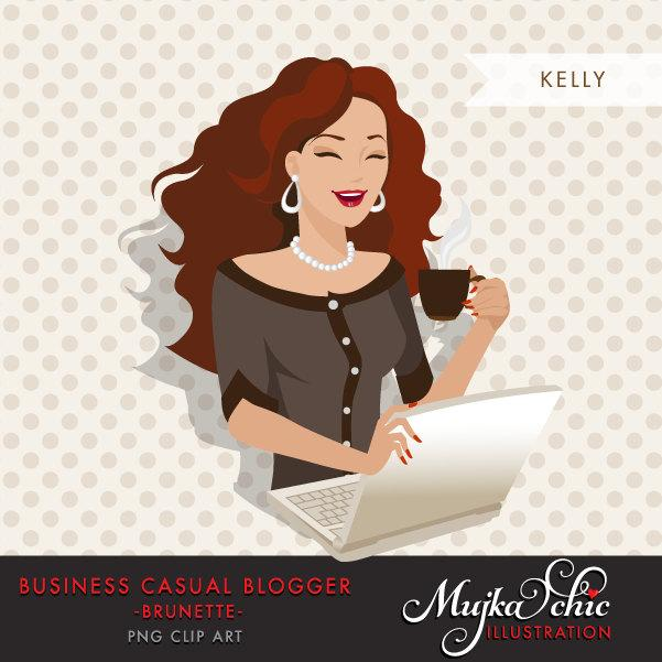 Free Brunette Blogger Character in Business Causal outfit
