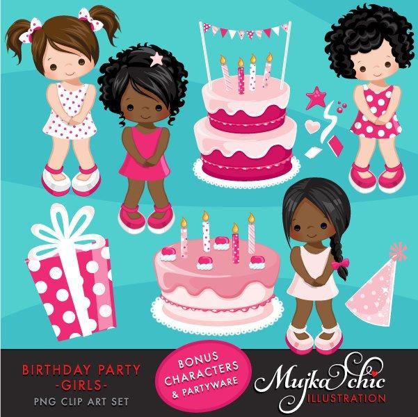 Girl Birthday Party Clipart