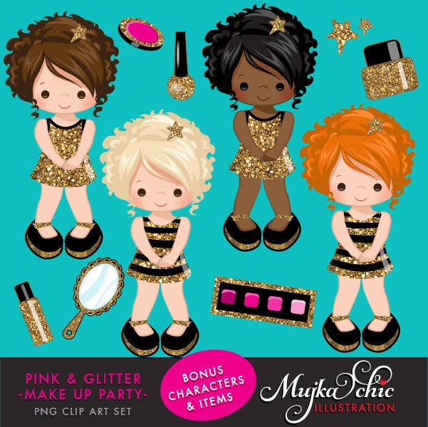 Pink & Glitter Make up Party for girl Clipart