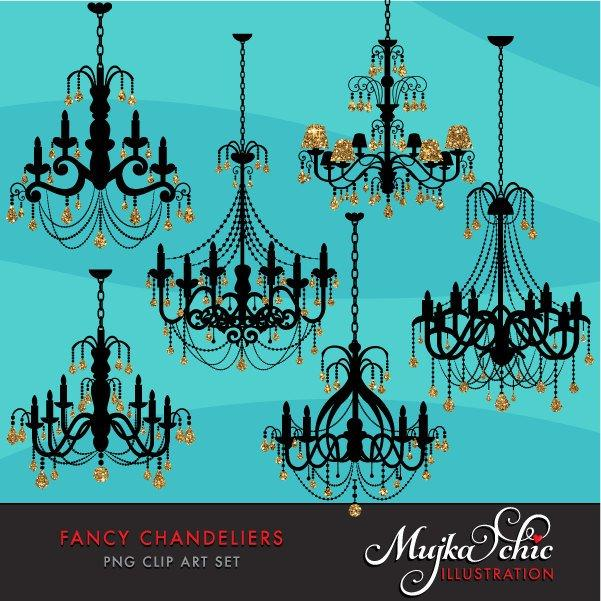 Fancy Gold Foil Chandelier Clipart with glitter crystals