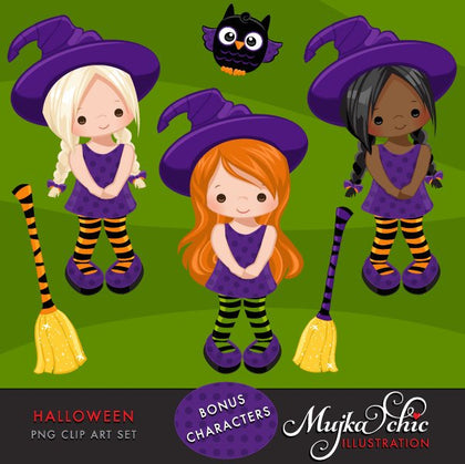 Halloween Clipart with cute witches, girls