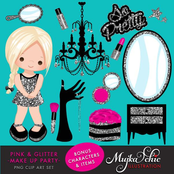 Glitter Make up Party for girl Clipart