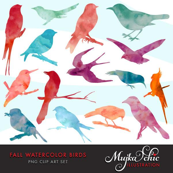 Free Fall Watercolor Bird Silhouettes Clipart. Animal graphic