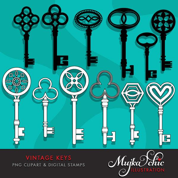 Vintage Antique Keys Clipart & Digital Stamps
