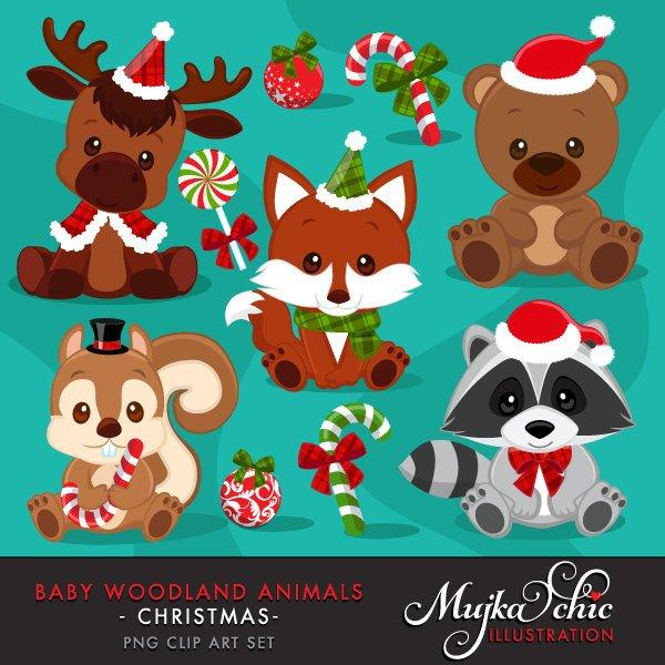 Christmas Baby Woodland Animal clipart