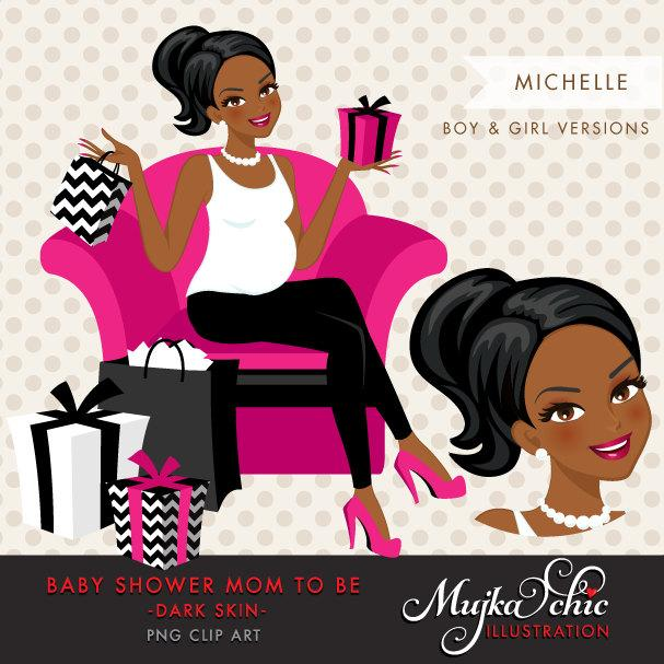 Black Pregnant Woman Character Design with gift box Clipart. Baby Shower Party Invitation Character