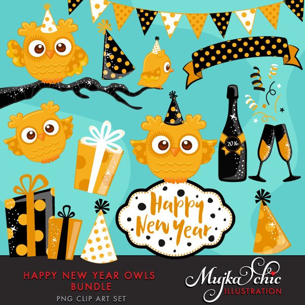 Happy New Year Owls Bundle, cute animal