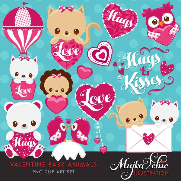 Valentine's Day Cute Baby Animals Clipart