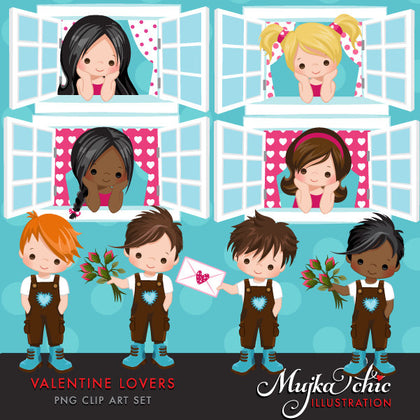 Valentine's day clipart. Lovers Window Serenade