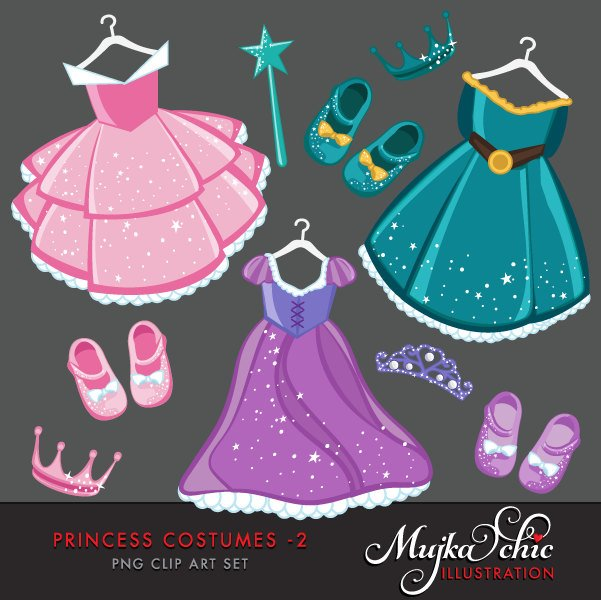 Princess dress Clipart with cute, version 2