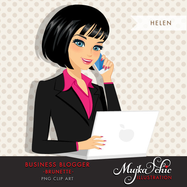 Dark Brunette Blogger Character in Business outfit with laptop and mobile