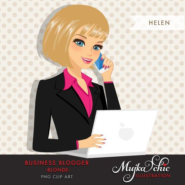 Blonde Blogger Character avatar in Business outfit with laptop and mobile