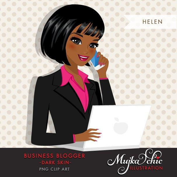 Black African American Blogger Character in Business outfit with laptop and mobile