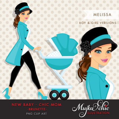 Brunette Chic Mom Character walking with baby carriage. Baby Shower Party Invitation Character