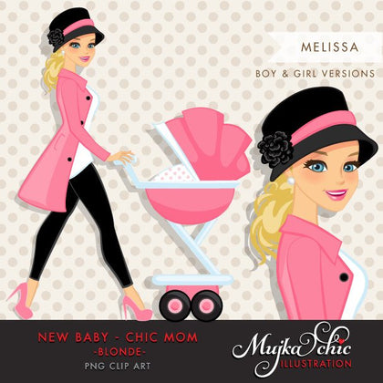 Blonde Chic Mom Character walking with baby carriage. Baby Shower Party Invitation Character