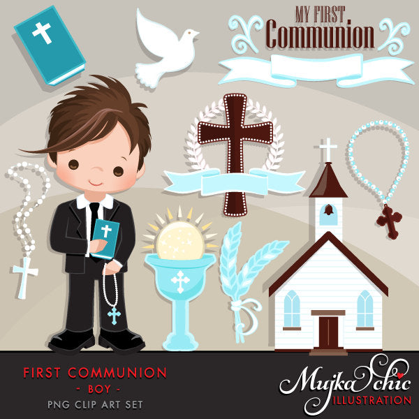 First Communion Clipart for Boy. Communion Banner religious