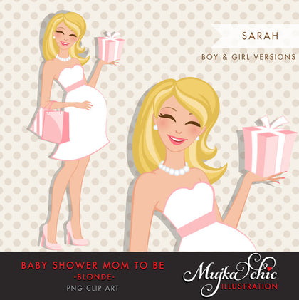 Blonde pregnant mom clipart for Baby Shower