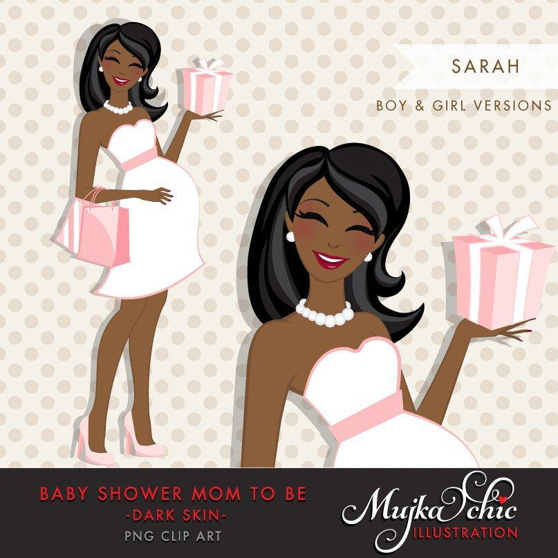 black African American pregnant clipart