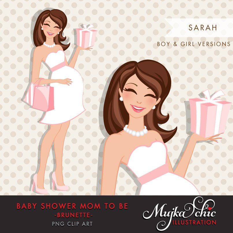 Brunette pregnant mom clipart for Baby Shower