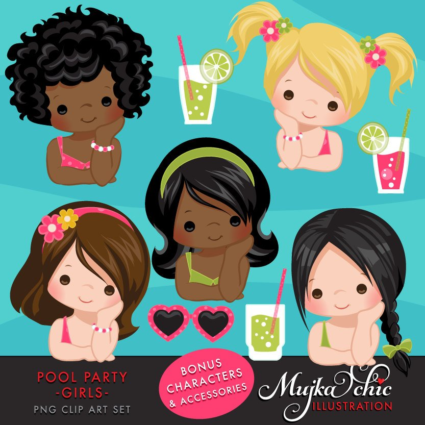 Pool Party Clipart for Girls summer
