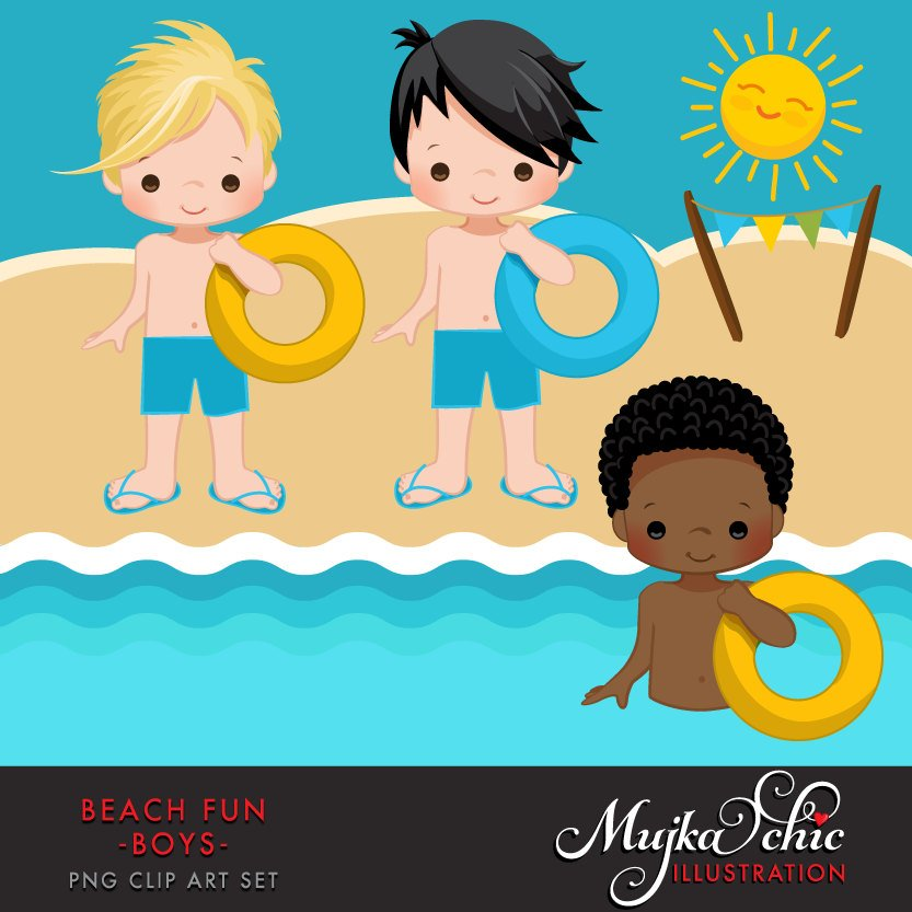 Beach Fun Clipart for Boys, summer