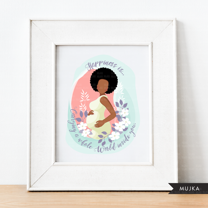 Mothers Day clipart, mother's day sublimation designs digital download, baby shower favors, wall art, pregnant black afro woman png