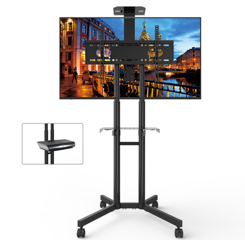 Height Adjustable Mobile TV Stand for 32-65'' TV