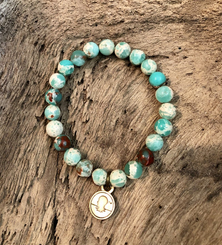 Salty Words Bracelet - Green Snakeskin Agate