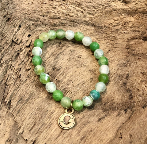 Salty Words Bracelet - Green Fire Agate