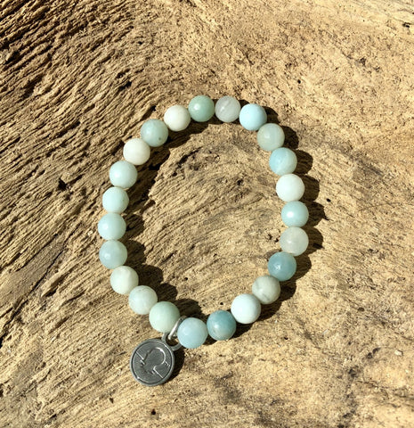 Salty Words Bracelet - Aqua Blue Amazonite