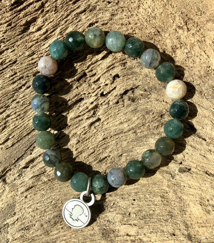 Salty Words Bracelet - Faceted Moss Agate