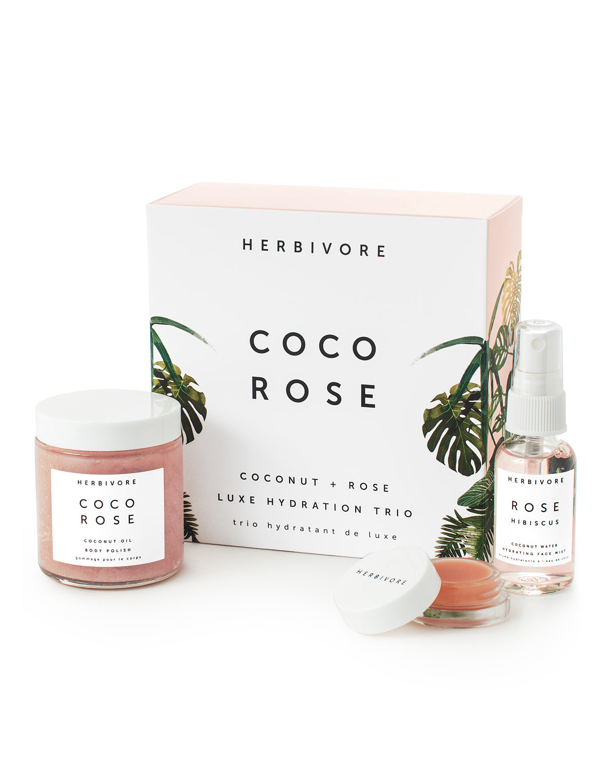 Herbivore Botanicals Coco Rose Luxe Hydration Trio Body Polish Sugar Scrub Mini Rose Hibiscus Hydrating Face Mist Lip Conditioner Coconut Oil Balm