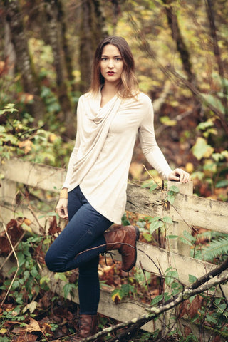 Beaux Crossover Button Pullover