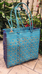 Handwoven Medium Shoulder Tote Teal/blue