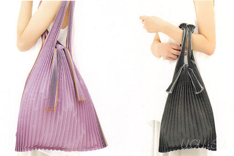 [Backorder] Pleated Eco-Bag Small {Beige/Silver}