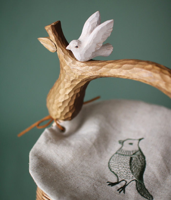 Bird Basket with Embroidery