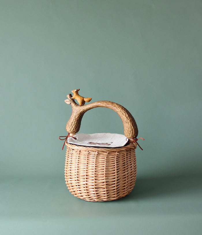 Fox Basket with Embroidery