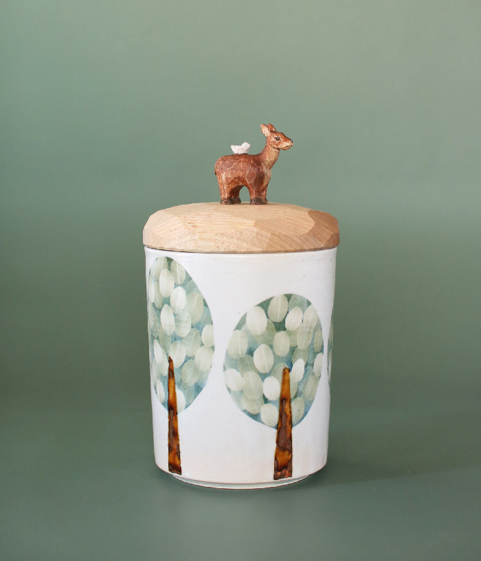 Ceramic Canister with Wood Deer Lid