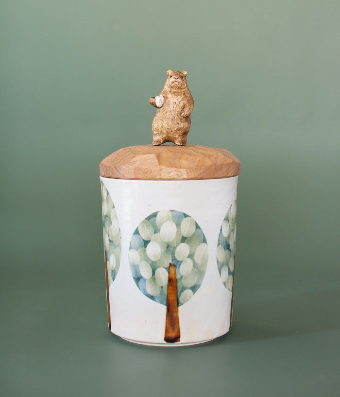 Ceramic Canister with Wood Bear Lid