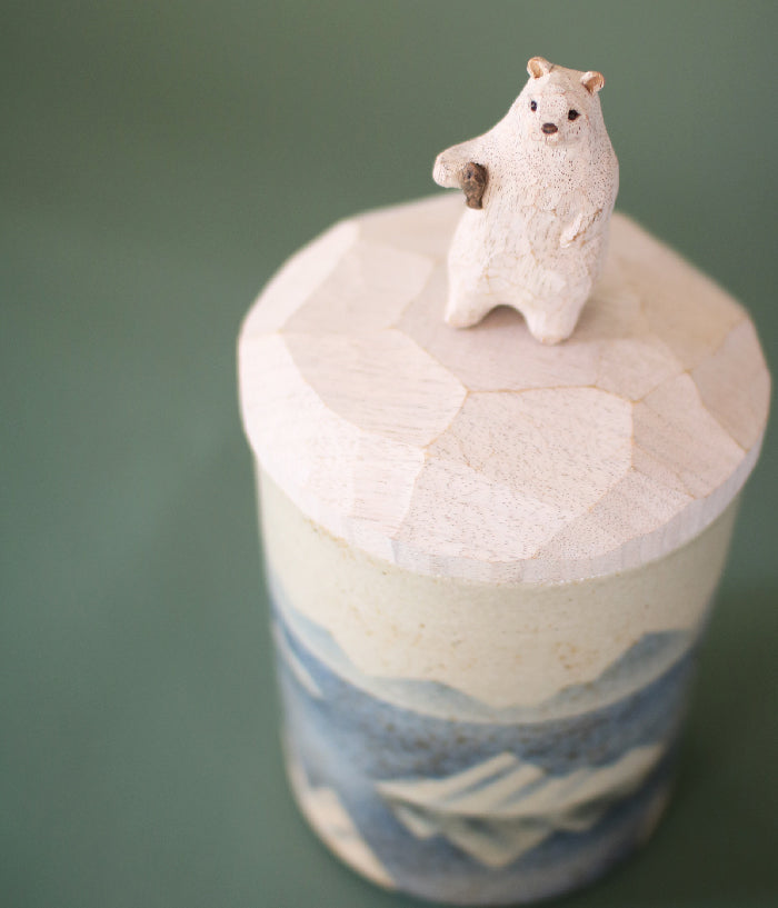 Ceramic Canister with Wood Polar Bear Lid