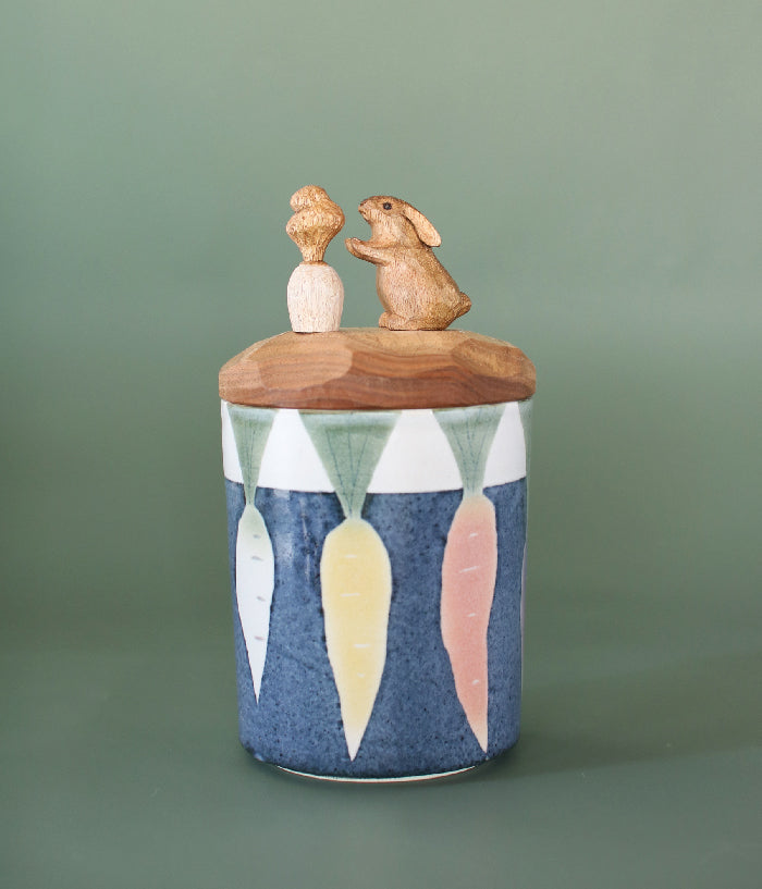 Ceramic Canister with Rabbit Wood Lid