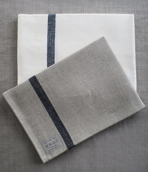 Fog Linen Work Thick Kitchen Cloth/Tea Towel With Line