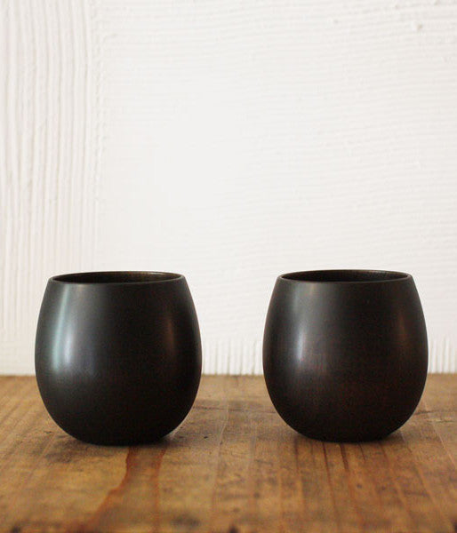 SAKURA Wooden Tea Cup {Black}