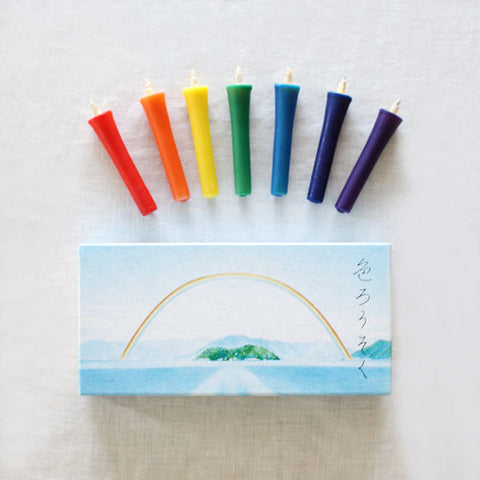 [Sold out] hitohito Japanese Candles {Rainbow Colours}