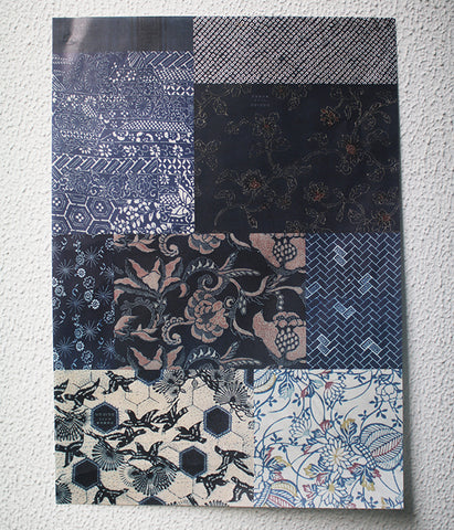 Vintage kimono patterns wrapping paper {Blue}