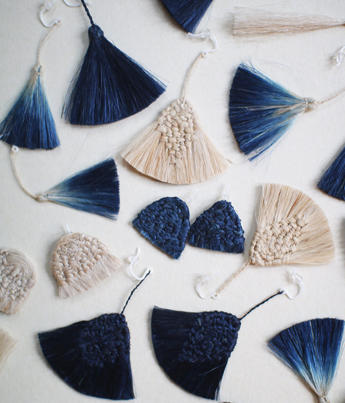 """Awai"" Indigo Dyed Earrings {Wing} Gradient"